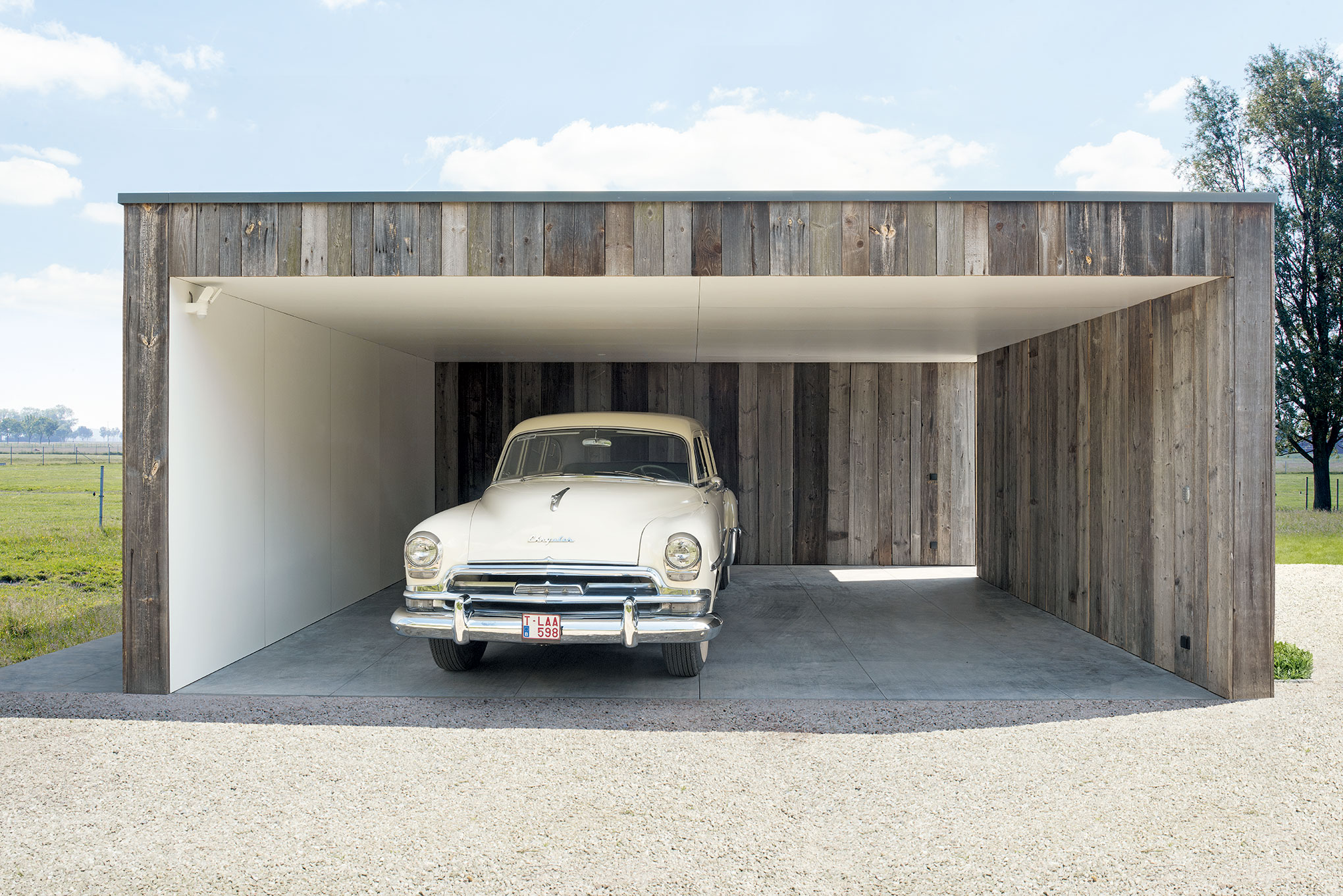 moderne dubbele carport met berging en terrasoverkapping te olsene houten bijgebouwen op maat