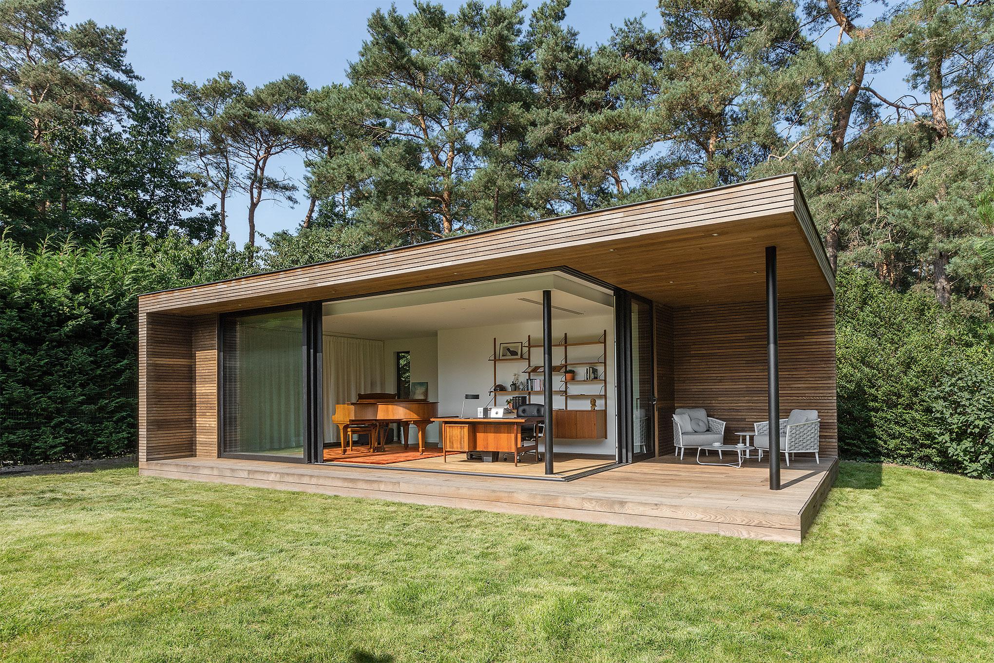 Eigentijds tuinkantoor met overdekt terras te bonheiden livinlodge