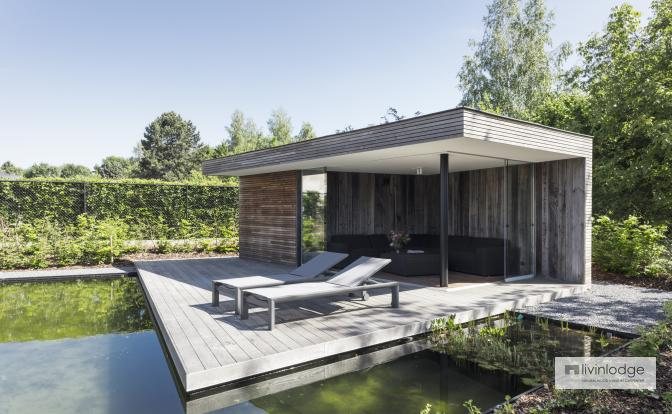 Moderne poolhouse met zwevend terras in Betekom   Livinldoge