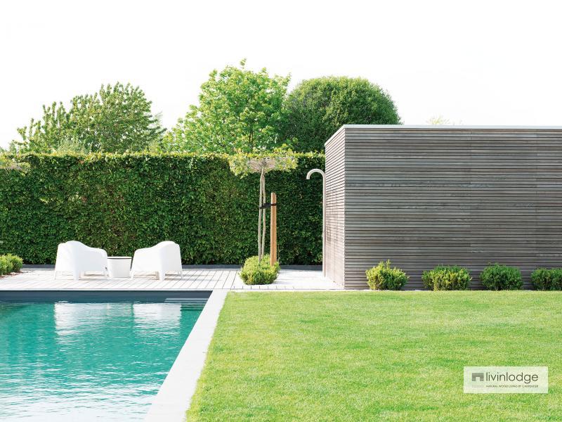 Moderne poolhouse met tuinberging Merchtem | Houten bijgebouwen op maat