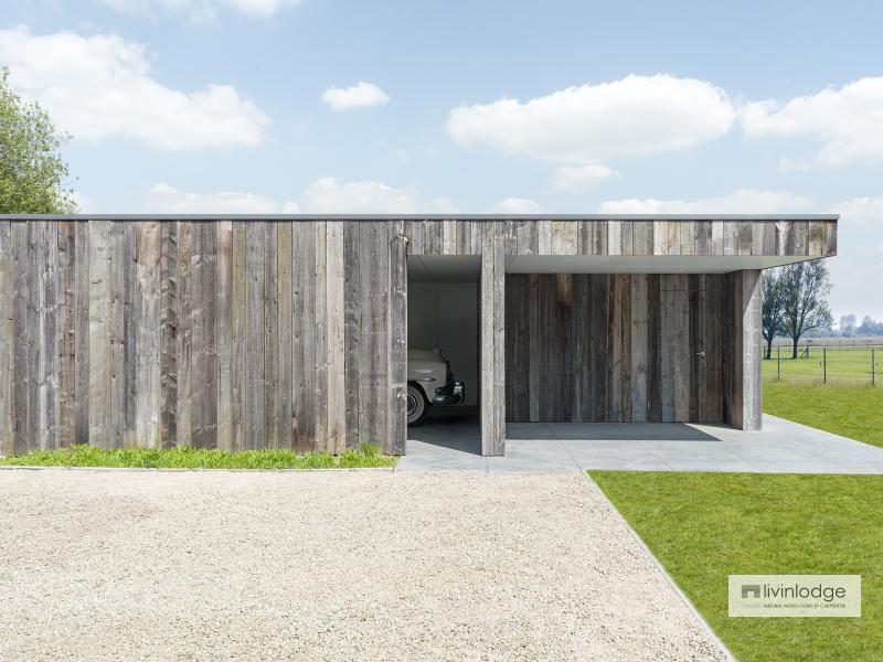 Moderne dubbele carport met berging en terrasoverkapping te Olsene | Houten bijgebouwen op maat