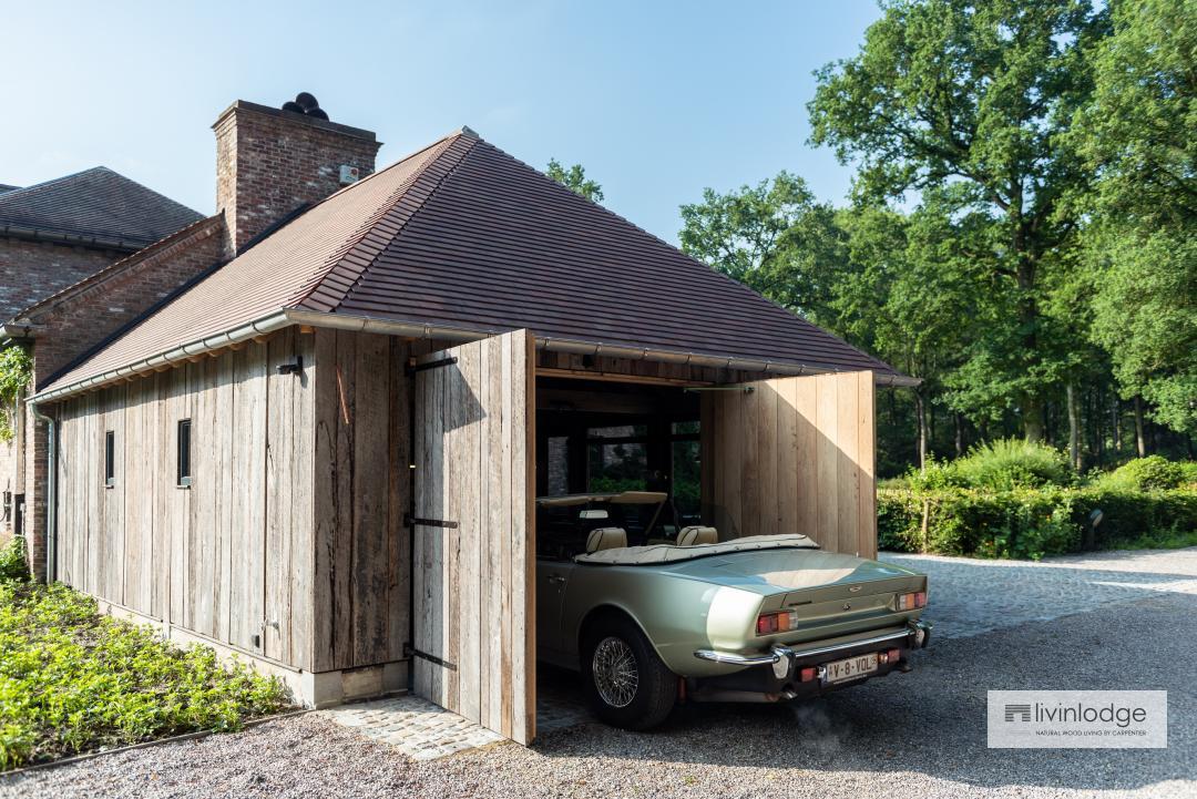 eiken carport landelijke stijl - houten bijgebouwen op maat