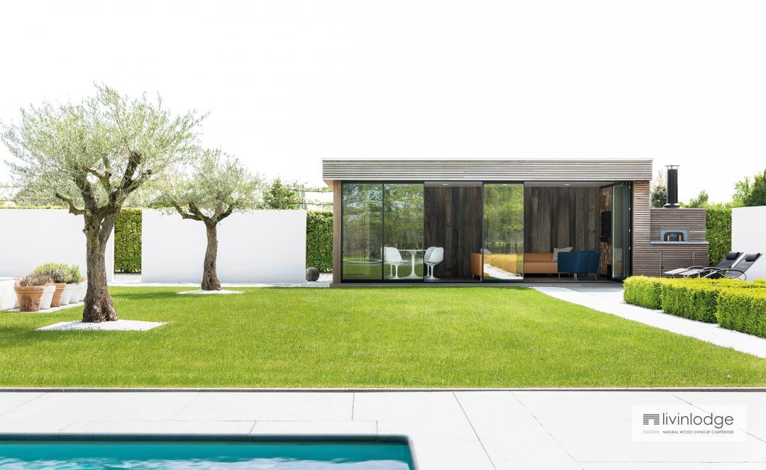 houten poolhouse modern